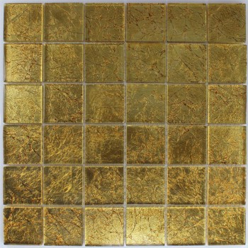 Glasmosaik Fliesen 48x48x8mm Gold Metall