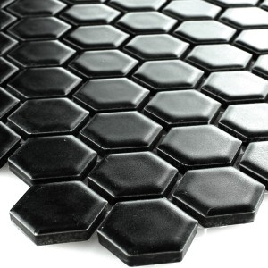 Mosaikfliesen Keramik Hexagon Schwarz Matt 23x23x4mm