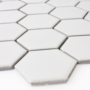 Mosaikfliesen Keramik Hexagon Weiss Matt H51